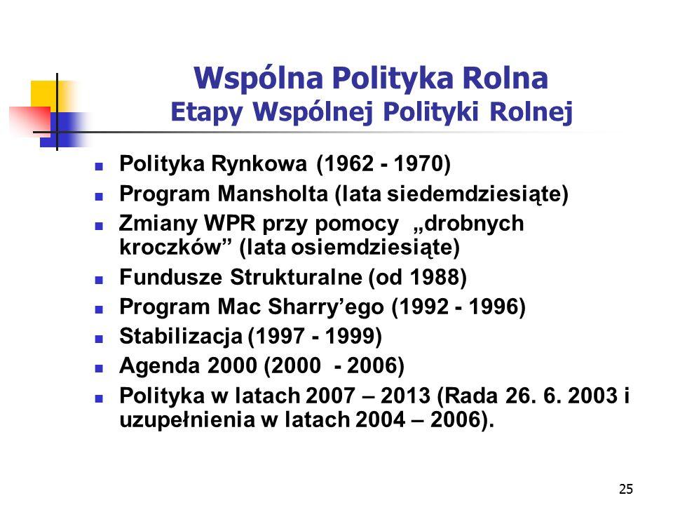 """25 Wspólna Polityka Rolna Etapy Wspólnej Polityki Rolnej Polityka Rynkowa (1962 - 1970) Program Mansholta (lata siedemdziesiąte) Zmiany WPR przy pomocy """"drobnych kroczków (lata osiemdziesiąte) Fundusze Strukturalne (od 1988) Program Mac Sharry'ego (1992 - 1996) Stabilizacja (1997 - 1999) Agenda 2000 (2000 - 2006) Polityka w latach 2007 – 2013 (Rada 26."""