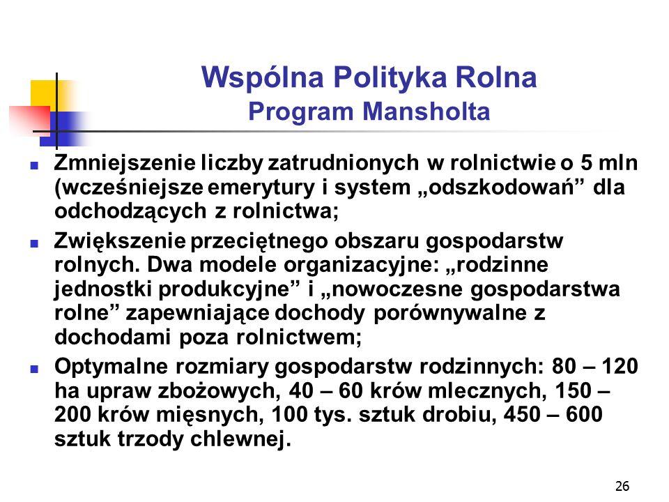 """26 Wspólna Polityka Rolna Program Mansholta Zmniejszenie liczby zatrudnionych w rolnictwie o 5 mln (wcześniejsze emerytury i system """"odszkodowań dla odchodzących z rolnictwa; Zwiększenie przeciętnego obszaru gospodarstw rolnych."""