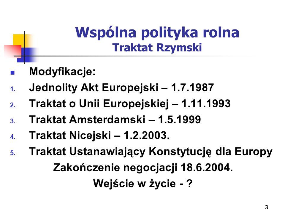 3 Wspólna polityka rolna Traktat Rzymski Modyfikacje: 1.