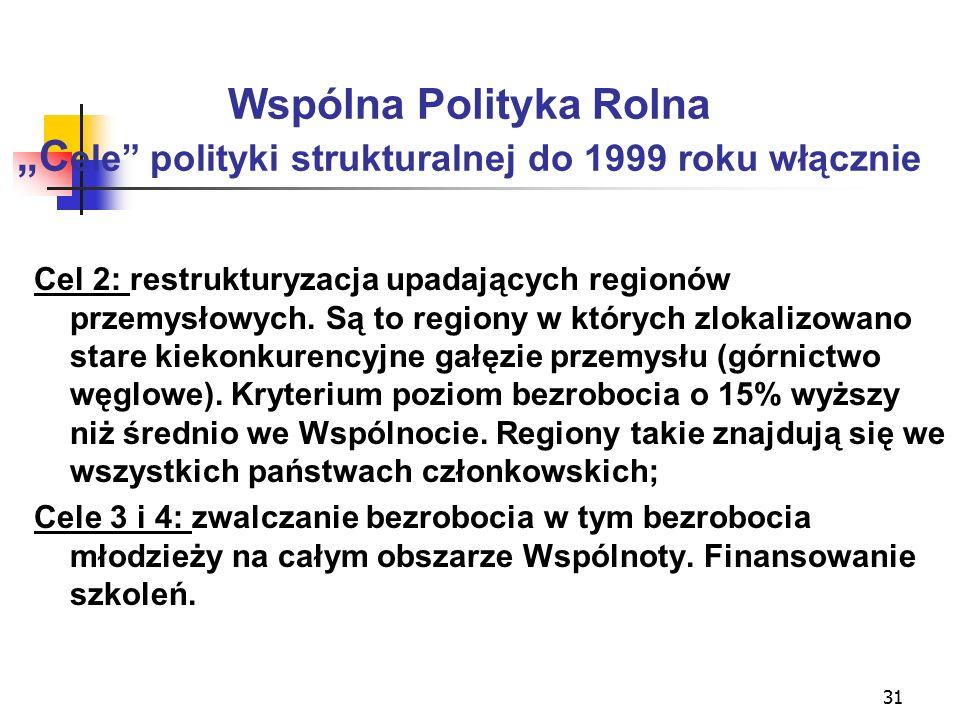 """31 Wspólna Polityka Rolna """"C ele polityki strukturalnej do 1999 roku włącznie Cel 2: restrukturyzacja upadających regionów przemysłowych."""