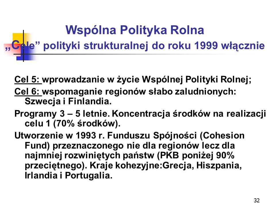 """32 Wspólna Polityka Rolna """"C ele polityki strukturalnej do roku 1999 włącznie Cel 5: wprowadzanie w życie Wspólnej Polityki Rolnej; Cel 6: wspomaganie regionów słabo zaludnionych: Szwecja i Finlandia."""