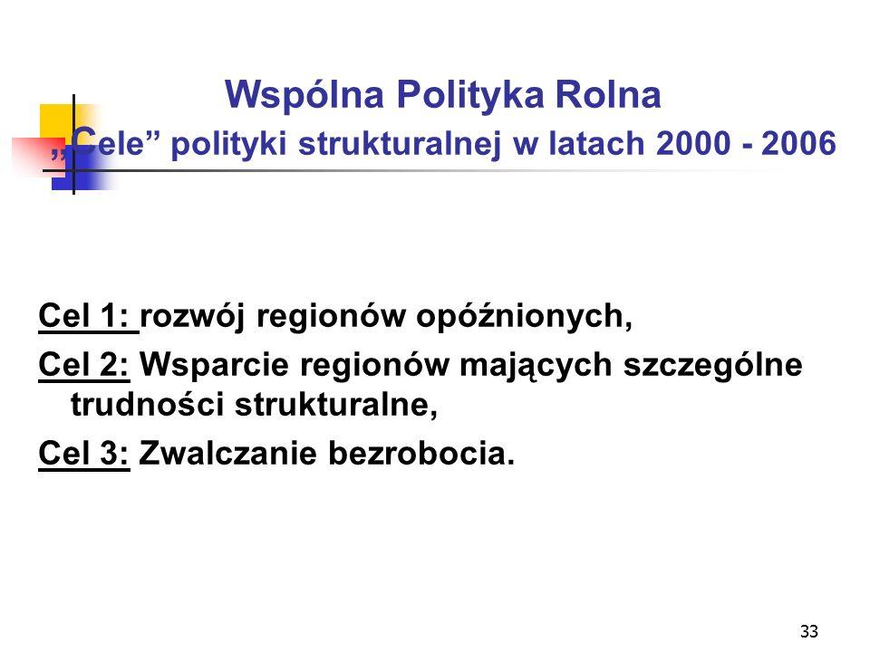 """33 Wspólna Polityka Rolna """"C ele polityki strukturalnej w latach 2000 - 2006 Cel 1: rozwój regionów opóźnionych, Cel 2: Wsparcie regionów mających szczególne trudności strukturalne, Cel 3: Zwalczanie bezrobocia."""