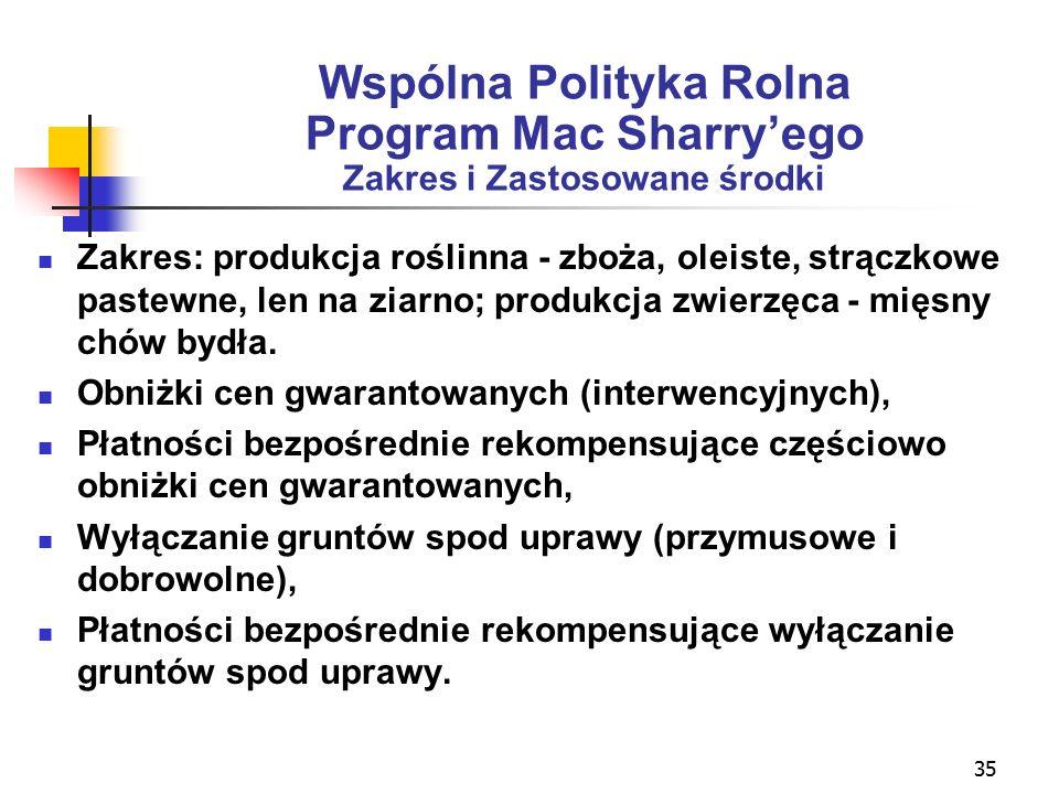 35 Wspólna Polityka Rolna Program Mac Sharry'ego Zakres i Zastosowane środki Zakres: produkcja roślinna - zboża, oleiste, strączkowe pastewne, len na ziarno; produkcja zwierzęca - mięsny chów bydła.