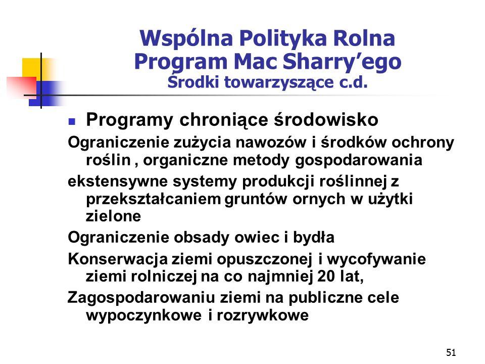 51 Wspólna Polityka Rolna Program Mac Sharry'ego Środki towarzyszące c.d.