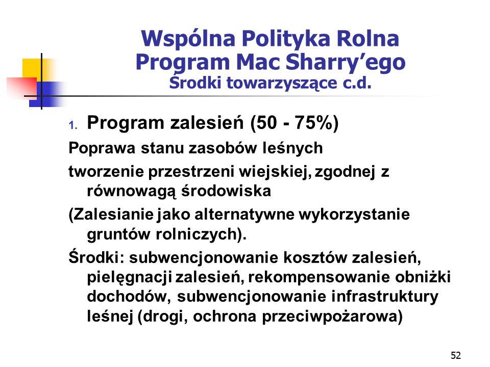 52 Wspólna Polityka Rolna Program Mac Sharry'ego Środki towarzyszące c.d.