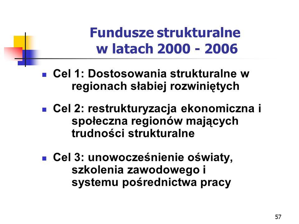 57 Fundusze strukturalne w latach 2000 - 2006 Cel 1: Dostosowania strukturalne w regionach słabiej rozwiniętych Cel 2: restrukturyzacja ekonomiczna i społeczna regionów mających trudności strukturalne Cel 3: unowocześnienie oświaty, szkolenia zawodowego i systemu pośrednictwa pracy
