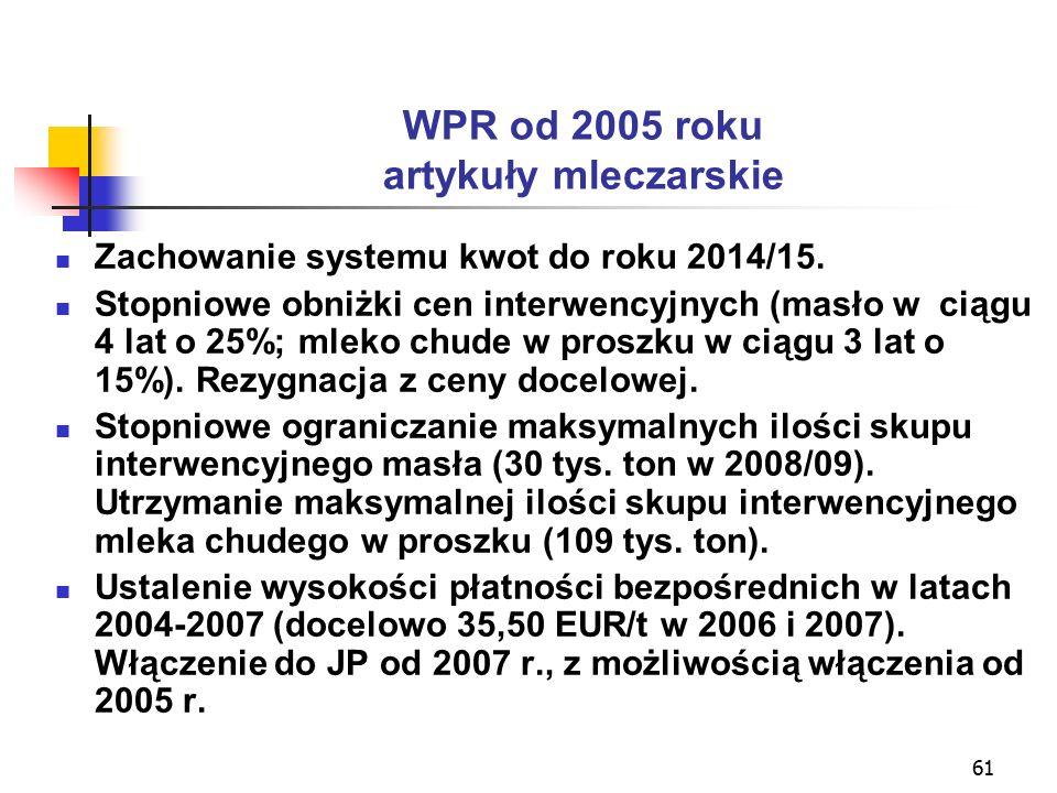 61 WPR od 2005 roku artykuły mleczarskie Zachowanie systemu kwot do roku 2014/15.
