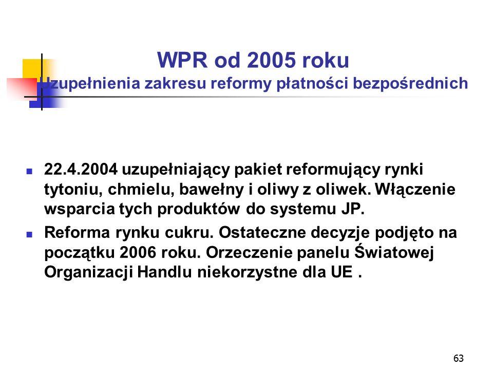 63 WPR od 2005 roku Uzupełnienia zakresu reformy płatności bezpośrednich 22.4.2004 uzupełniający pakiet reformujący rynki tytoniu, chmielu, bawełny i oliwy z oliwek.