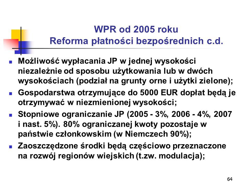 64 WPR od 2005 roku Reforma płatności bezpośrednich c.d.