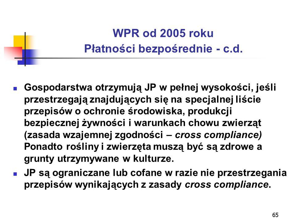 65 WPR od 2005 roku Płatności bezpośrednie - c.d.