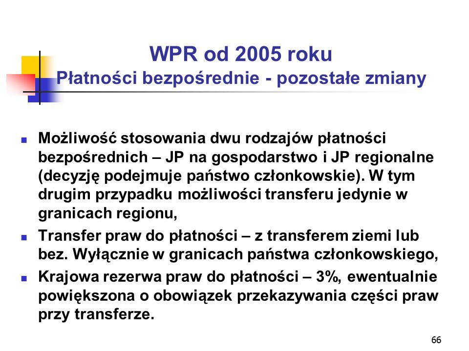 66 WPR od 2005 roku Płatności bezpośrednie - pozostałe zmiany Możliwość stosowania dwu rodzajów płatności bezpośrednich – JP na gospodarstwo i JP regionalne (decyzję podejmuje państwo członkowskie).