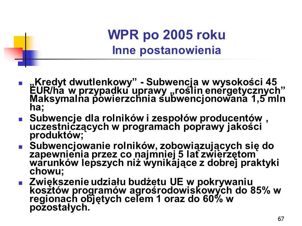 """67 WPR po 2005 roku Inne postanowienia """"Kredyt dwutlenkowy - Subwencja w wysokości 45 EUR/ha w przypadku uprawy """"roślin energetycznych Maksymalna powierzchnia subwencjonowana 1,5 mln ha; Subwencje dla rolników i zespołów producentów, uczestniczących w programach poprawy jakości produktów; Subwencjowanie rolników, zobowiązujących się do zapewnienia przez co najmniej 5 lat zwierzętom warunków lepszych niż wynikające z dobrej praktyki chowu; Zwiększenie udziału budżetu UE w pokrywaniu kosztów programów agrośrodowiskowych do 85% w regionach objętych celem 1 oraz do 60% w pozostałych."""