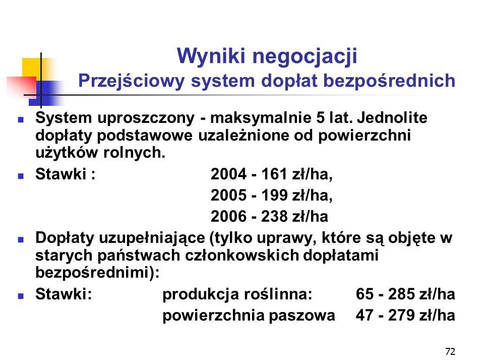 72 Wyniki negocjacji Przejściowy system dopłat bezpośrednich System uproszczony - maksymalnie 5 lat.