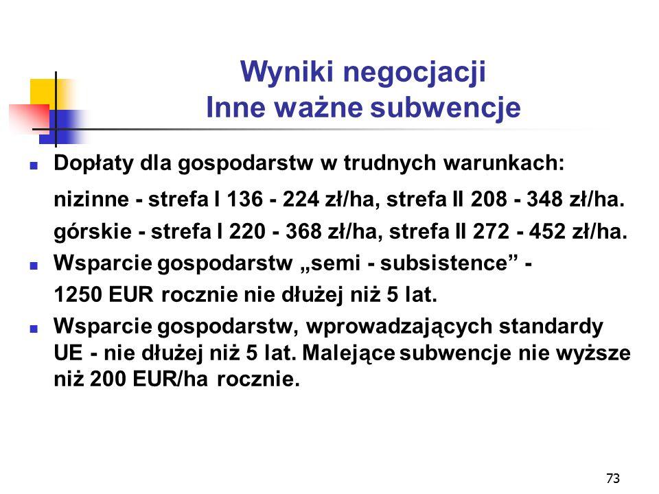 73 Wyniki negocjacji Inne ważne subwencje Dopłaty dla gospodarstw w trudnych warunkach: nizinne - strefa I 136 - 224 zł/ha, strefa II 208 - 348 zł/ha.