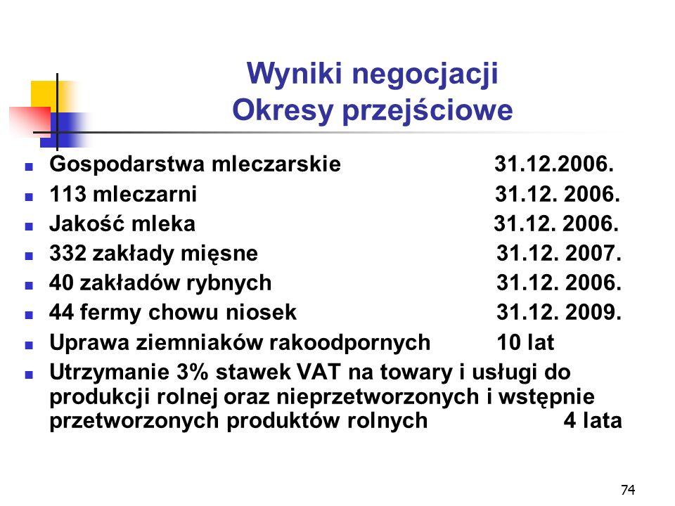 74 Wyniki negocjacji Okresy przejściowe Gospodarstwa mleczarskie 31.12.2006.
