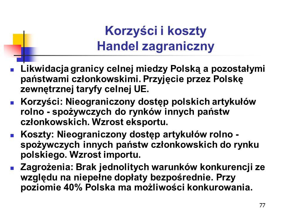 77 Korzyści i koszty Handel zagraniczny Likwidacja granicy celnej miedzy Polską a pozostałymi państwami członkowskimi.
