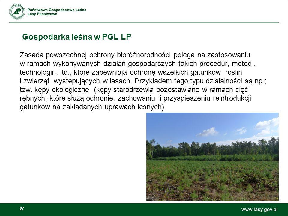 27 Gospodarka leśna w PGL LP Zasada powszechnej ochrony bioróżnorodności polega na zastosowaniu w ramach wykonywanych działań gospodarczych takich procedur, metod, technologii, itd., które zapewniają ochronę wszelkich gatunków roślin i zwierząt występujących w lasach.