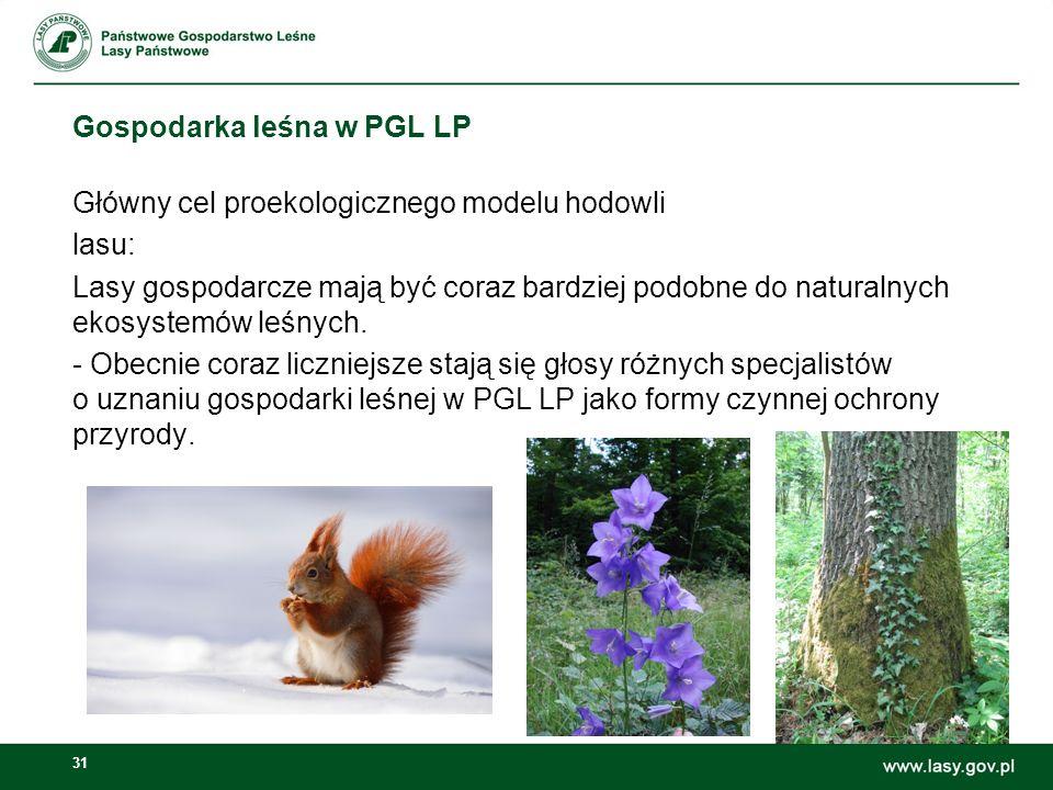 31 Gospodarka leśna w PGL LP Główny cel proekologicznego modelu hodowli lasu: Lasy gospodarcze mają być coraz bardziej podobne do naturalnych ekosystemów leśnych.