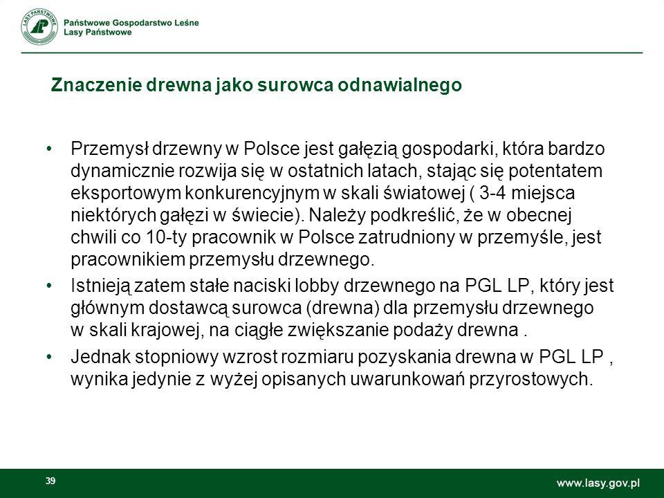 39 Znaczenie drewna jako surowca odnawialnego Przemysł drzewny w Polsce jest gałęzią gospodarki, która bardzo dynamicznie rozwija się w ostatnich latach, stając się potentatem eksportowym konkurencyjnym w skali światowej ( 3-4 miejsca niektórych gałęzi w świecie).