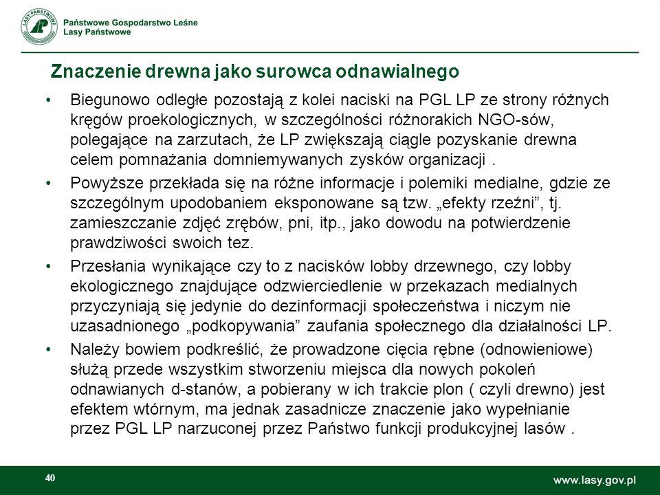 40 Znaczenie drewna jako surowca odnawialnego Biegunowo odległe pozostają z kolei naciski na PGL LP ze strony różnych kręgów proekologicznych, w szczególności różnorakich NGO-sów, polegające na zarzutach, że LP zwiększają ciągle pozyskanie drewna celem pomnażania domniemywanych zysków organizacji.