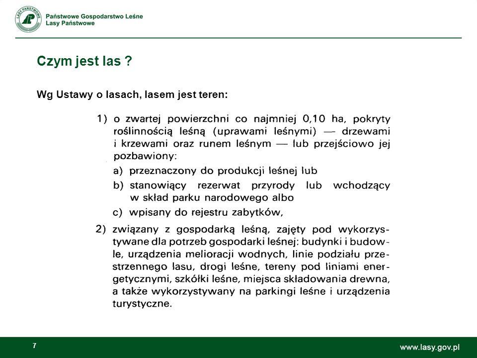 7 Czym jest las ? Wg Ustawy o lasach, lasem jest teren: