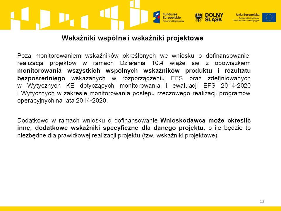 13 Wskaźniki wspólne i wskaźniki projektowe Poza monitorowaniem wskaźników określonych we wniosku o dofinansowanie, realizacja projektów w ramach Działania 10.4 wiąże się z obowiązkiem monitorowania wszystkich wspólnych wskaźników produktu i rezultatu bezpośredniego wskazanych w rozporządzeniu EFS oraz zdefiniowanych w Wytycznych KE dotyczących monitorowania i ewaluacji EFS 2014-2020 i Wytycznych w zakresie monitorowania postępu rzeczowego realizacji programów operacyjnych na lata 2014-2020.
