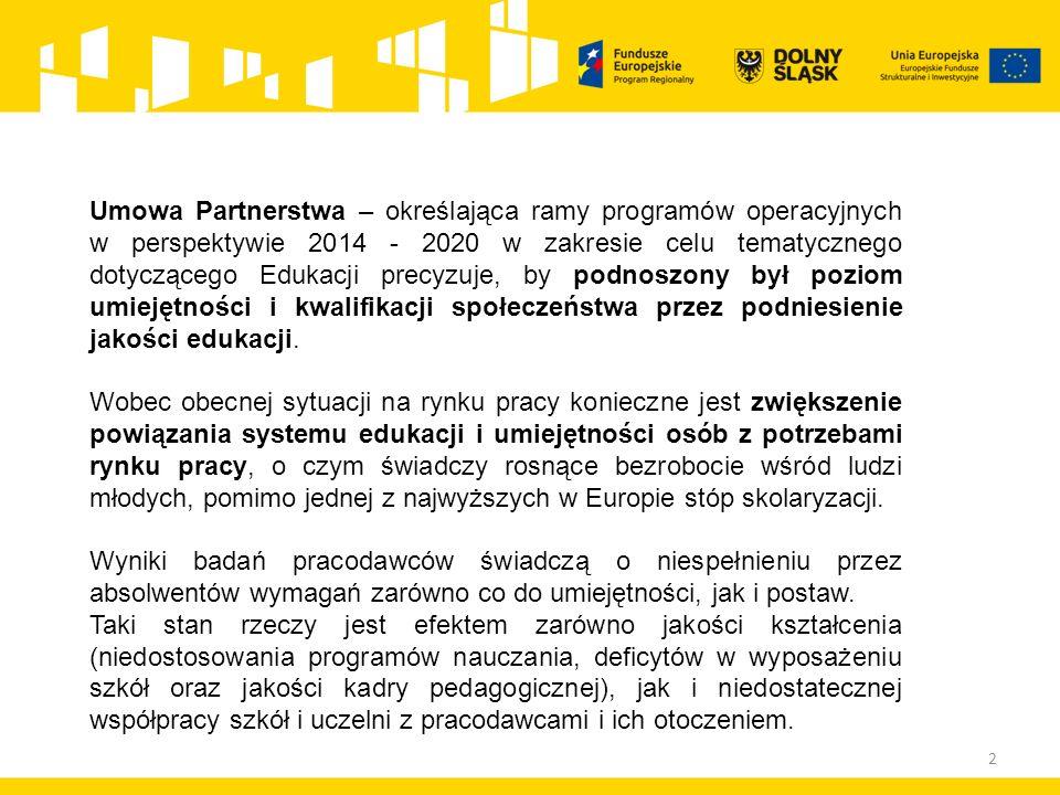 2 Umowa Partnerstwa – określająca ramy programów operacyjnych w perspektywie 2014 - 2020 w zakresie celu tematycznego dotyczącego Edukacji precyzuje, by podnoszony był poziom umiejętności i kwalifikacji społeczeństwa przez podniesienie jakości edukacji.