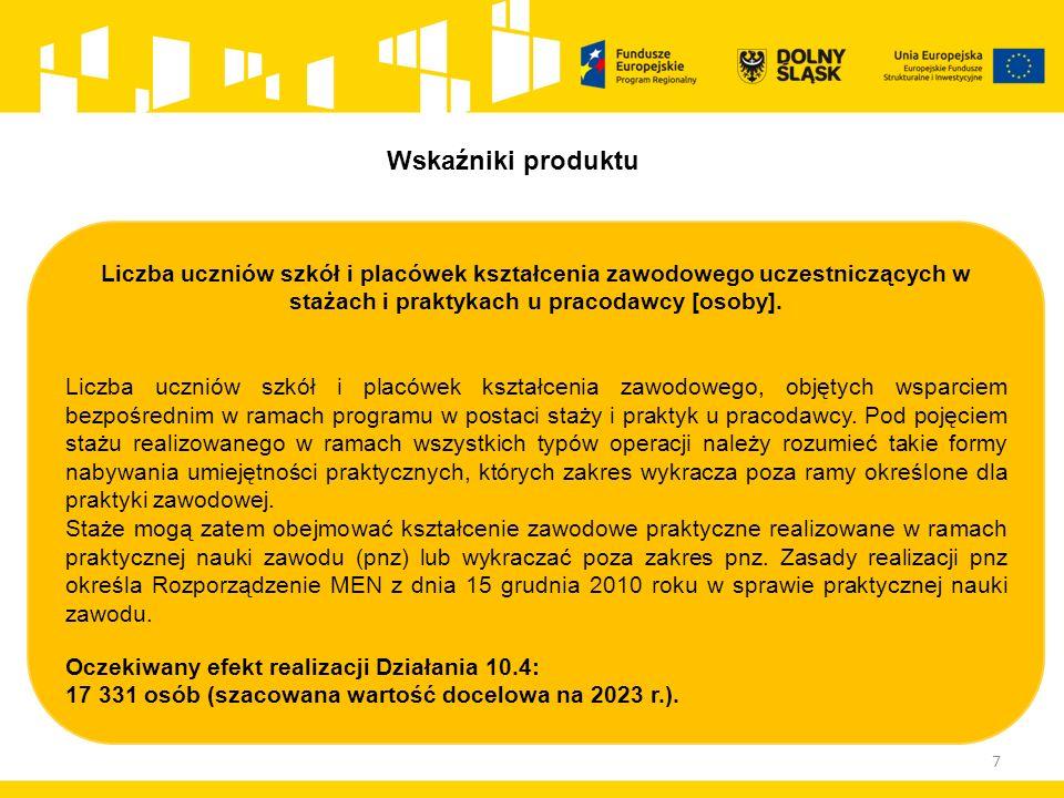 7 Liczba uczniów szkół i placówek kształcenia zawodowego uczestniczących w stażach i praktykach u pracodawcy [osoby].