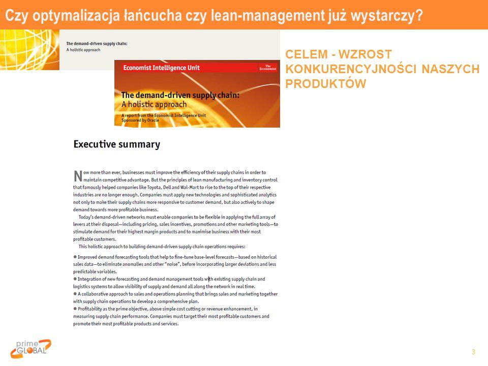 Czy optymalizacja łańcucha czy lean-management już wystarczy? 3 CELEM - WZROST KONKURENCYJNOŚCI NASZYCH PRODUKTÓW