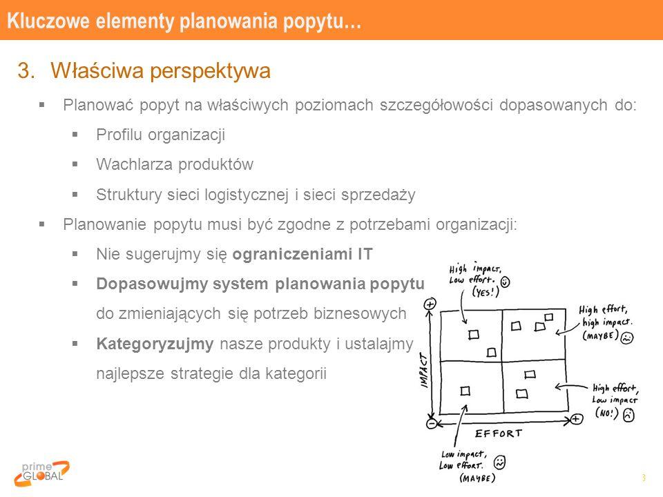 8 3.Właściwa perspektywa  Planować popyt na właściwych poziomach szczegółowości dopasowanych do:  Profilu organizacji  Wachlarza produktów  Struktury sieci logistycznej i sieci sprzedaży  Planowanie popytu musi być zgodne z potrzebami organizacji:  Nie sugerujmy się ograniczeniami IT  Dopasowujmy system planowania popytu do zmieniających się potrzeb biznesowych  Kategoryzujmy nasze produkty i ustalajmy najlepsze strategie dla kategorii