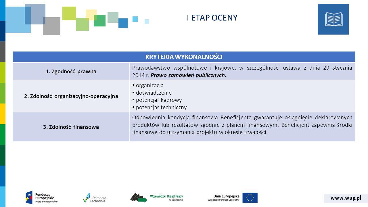 www.wup.pl KRYTERIA WYKONALNOŚCI 1.