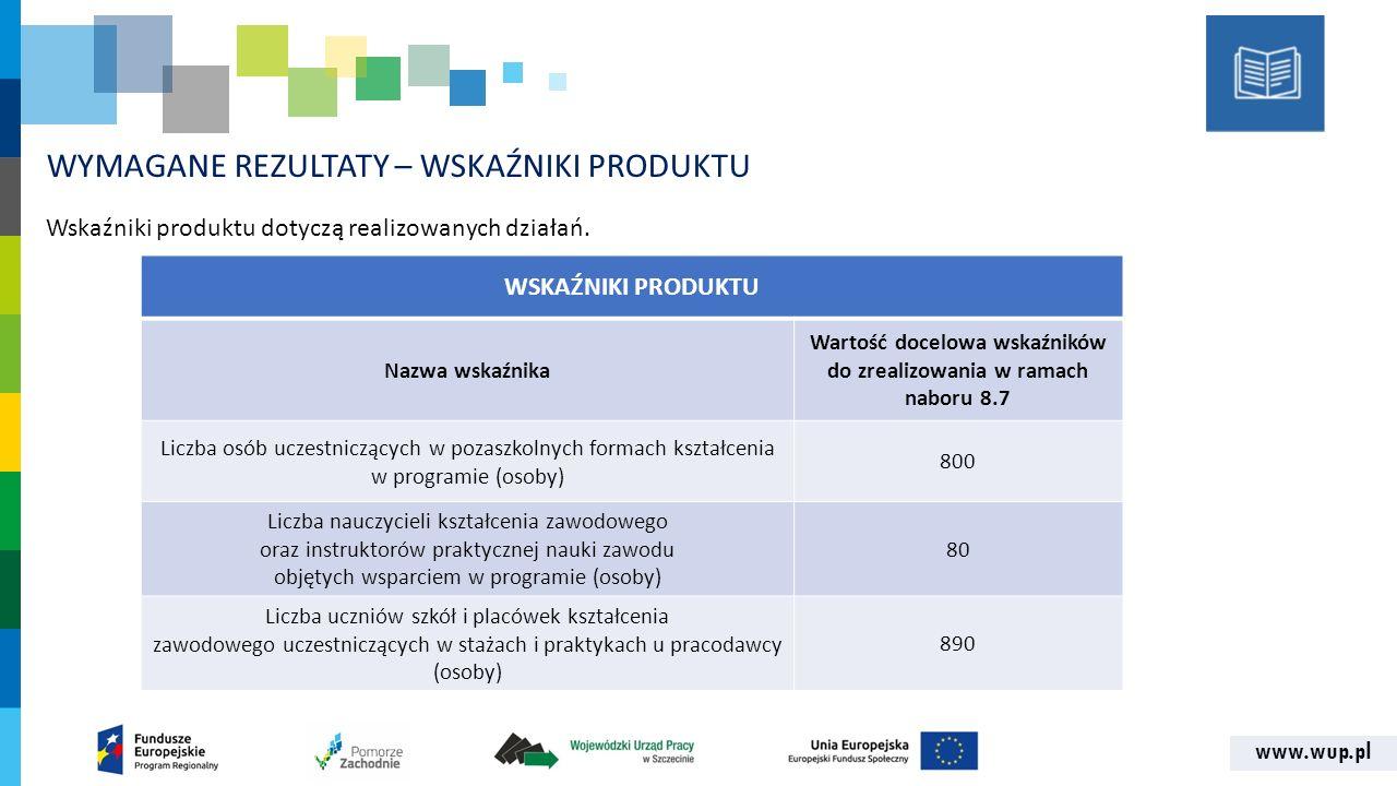 www.wup.pl WYMAGANE REZULTATY – WSKAŹNIKI PRODUKTU Wskaźniki produktu dotyczą realizowanych działań.
