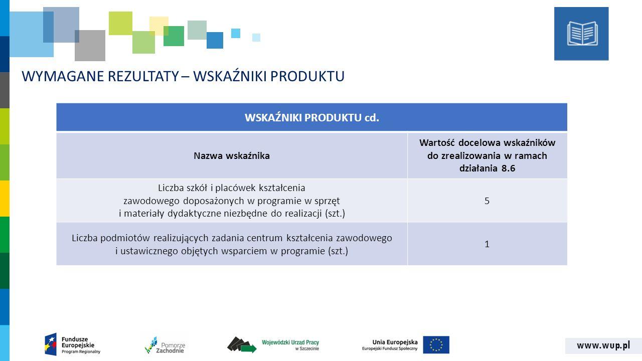 www.wup.pl WYMAGANE REZULTATY – WSKAŹNIKI PRODUKTU WSKAŹNIKI PRODUKTU cd.