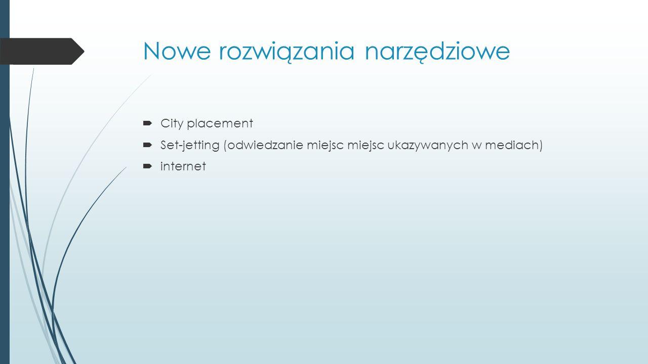 Nowe rozwiązania narzędziowe  City placement  Set-jetting (odwiedzanie miejsc miejsc ukazywanych w mediach)  internet