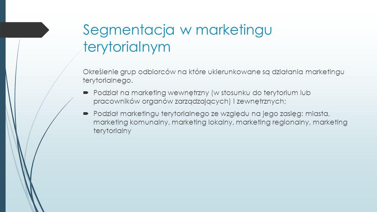 Segmentacja w marketingu terytorialnym Określenie grup odbiorców na które ukierunkowane są działania marketingu terytorialnego.