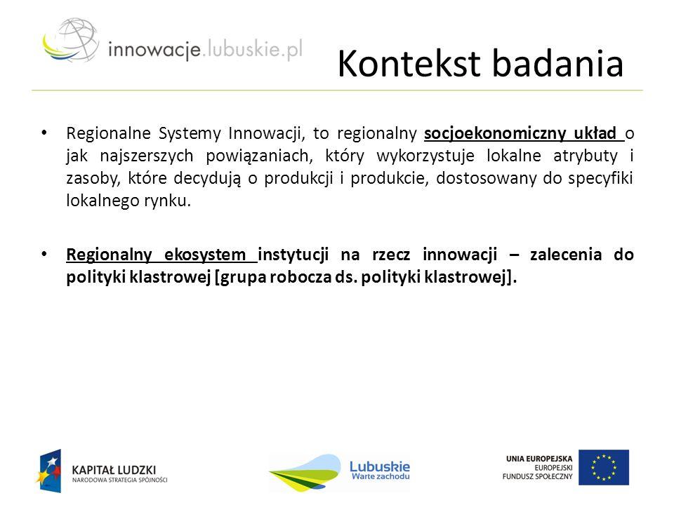 Kontekst badania Regionalne Systemy Innowacji, to regionalny socjoekonomiczny układ o jak najszerszych powiązaniach, który wykorzystuje lokalne atrybu