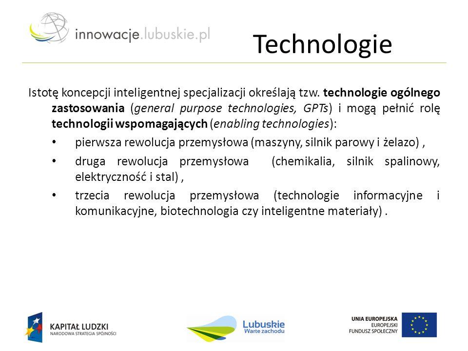 Technologie Istotę koncepcji inteligentnej specjalizacji określają tzw. technologie ogólnego zastosowania (general purpose technologies, GPTs) i mogą