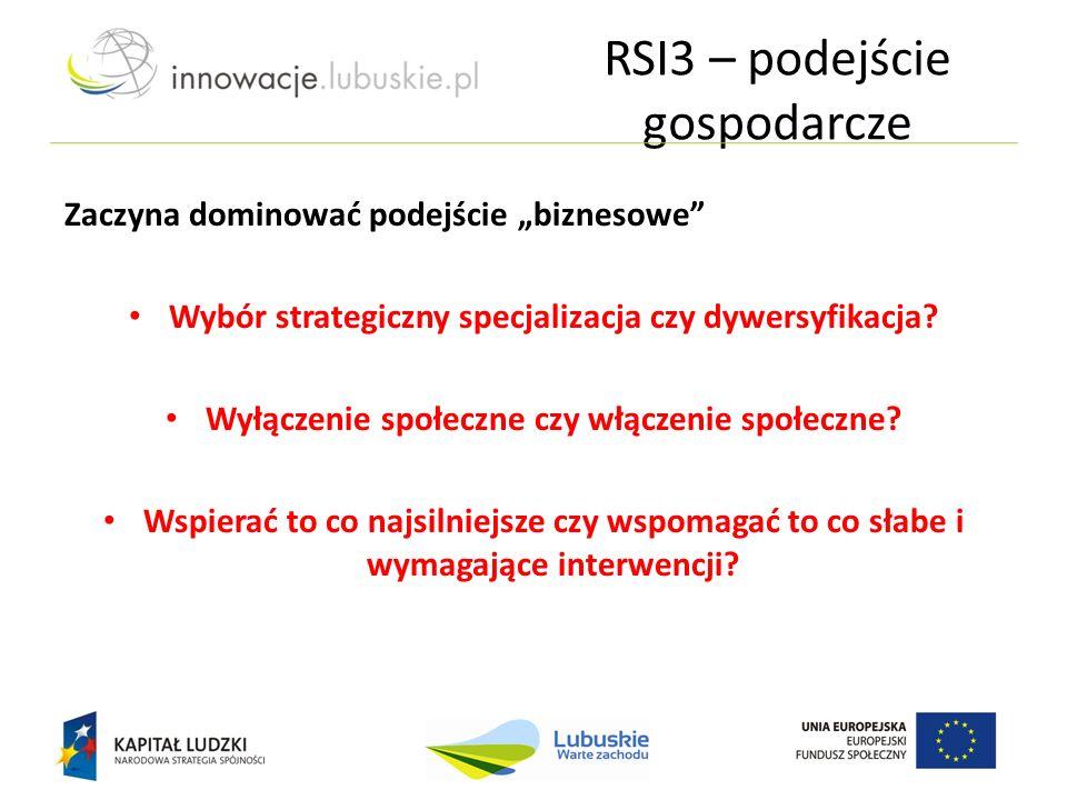 """RSI3 – podejście gospodarcze Zaczyna dominować podejście """"biznesowe"""" Wybór strategiczny specjalizacja czy dywersyfikacja? Wyłączenie społeczne czy włą"""