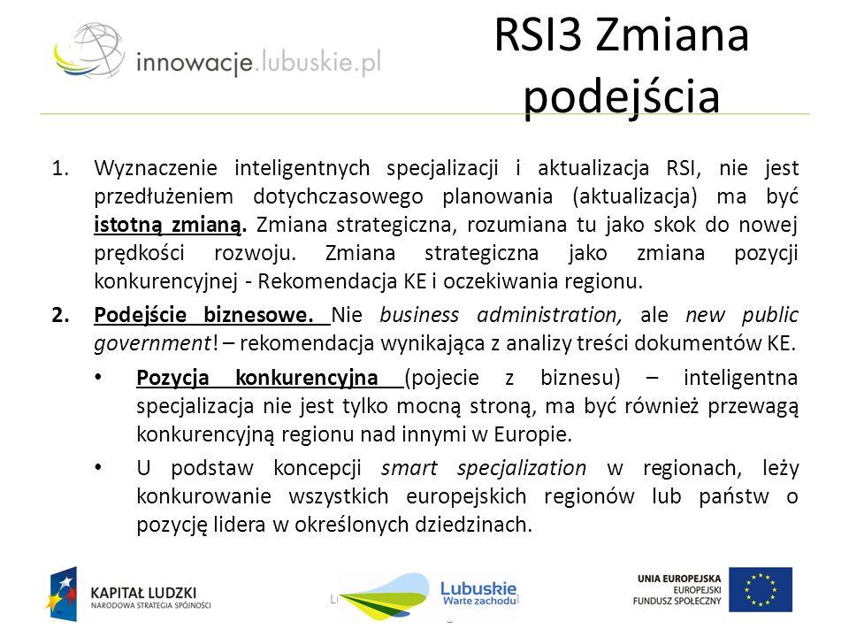 RSI3 Zmiana podejścia Lubuskie - w drodze do innowacji Nowa Sól, 25 lutego 2013 r. 1.Wyznaczenie inteligentnych specjalizacji i aktualizacja RSI, nie