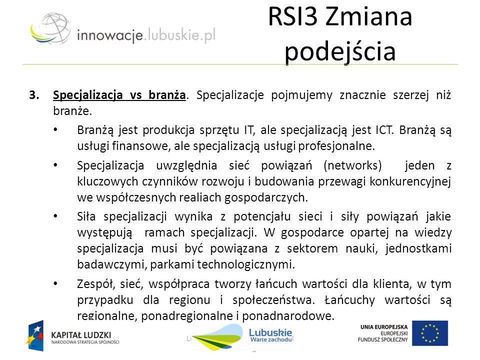 Lubuskie - w drodze do innowacji Nowa Sól, 25 lutego 2013 r. 3.Specjalizacja vs branża. Specjalizacje pojmujemy znacznie szerzej niż branże. Branżą je