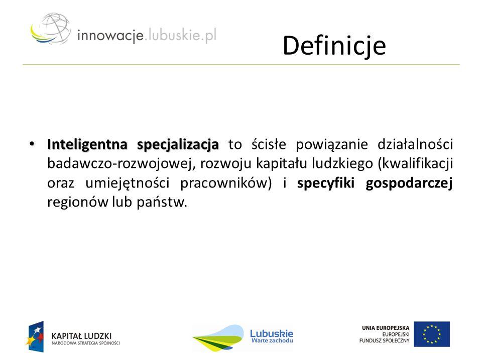 Definicje Inteligentna specjalizacja Inteligentna specjalizacja to ścisłe powiązanie działalności badawczo-rozwojowej, rozwoju kapitału ludzkiego (kwa