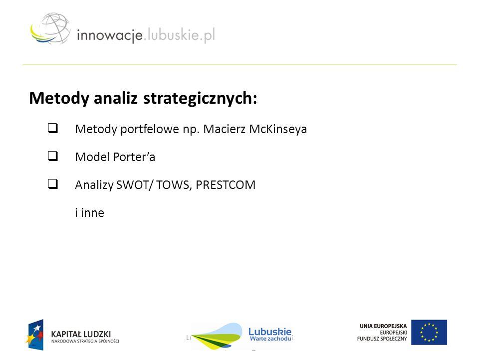 Lubuskie - w drodze do innowacji Nowa Sól, 25 lutego 2013 r. Metody analiz strategicznych:  Metody portfelowe np. Macierz McKinseya  Model Porter'a