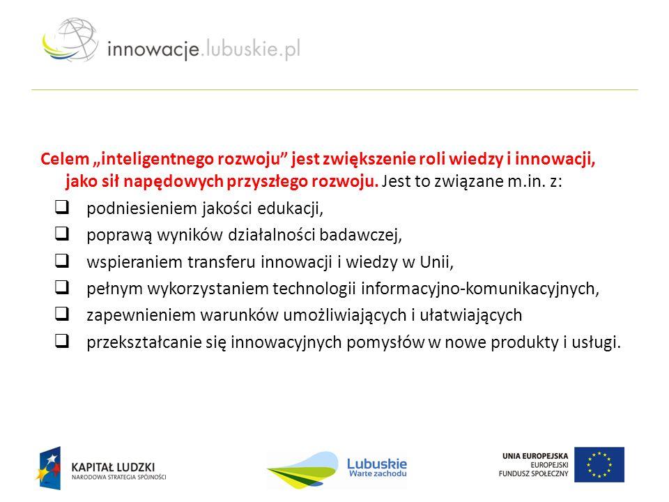 """Celem """"inteligentnego rozwoju"""" jest zwiększenie roli wiedzy i innowacji, jako sił napędowych przyszłego rozwoju. Jest to związane m.in. z:  podniesie"""