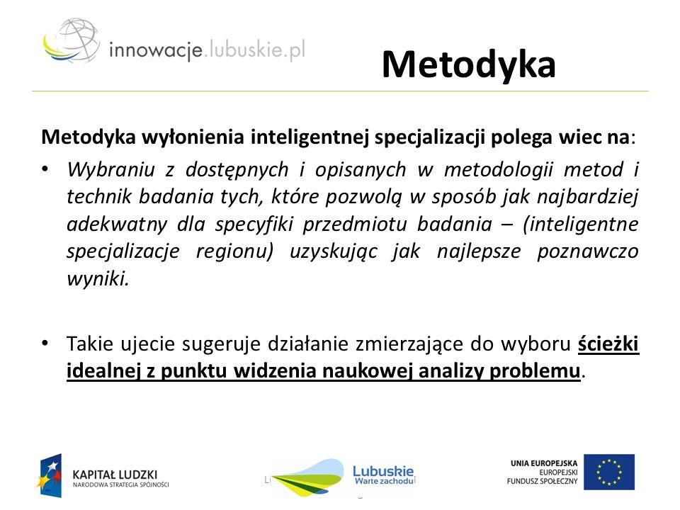 Metodyka Metodyka wyłonienia inteligentnej specjalizacji polega wiec na: Wybraniu z dostępnych i opisanych w metodologii metod i technik badania tych,
