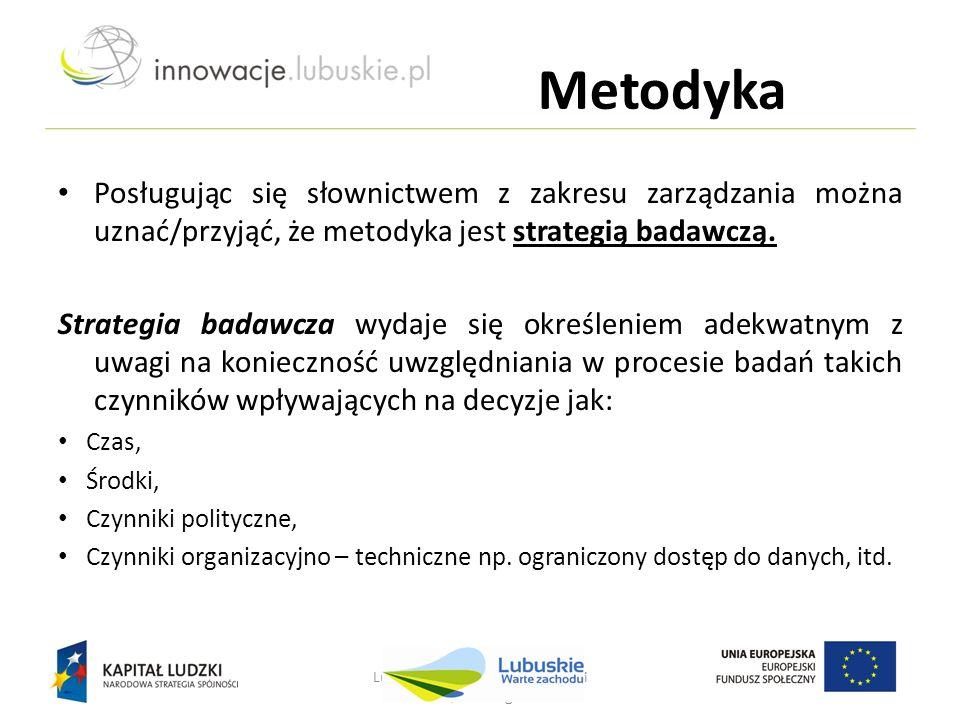 Metodyka Posługując się słownictwem z zakresu zarządzania można uznać/przyjąć, że metodyka jest strategią badawczą. Strategia badawcza wydaje się okre