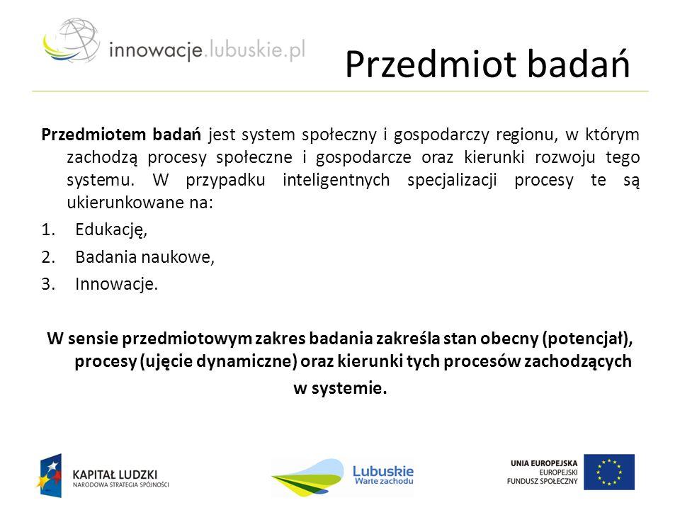 Przedmiot badań Przedmiotem badań jest system społeczny i gospodarczy regionu, w którym zachodzą procesy społeczne i gospodarcze oraz kierunki rozwoju tego systemu.