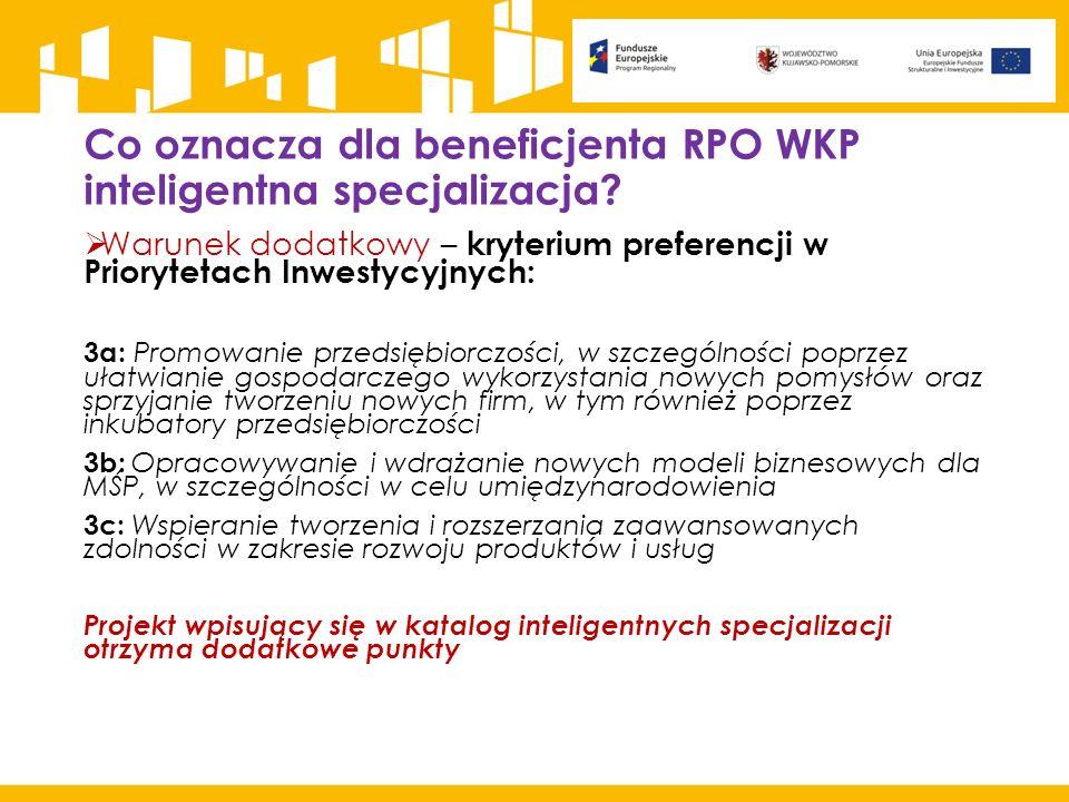 Co oznacza dla beneficjenta RPO WKP inteligentna specjalizacja?  Warunek dodatkowy – kryterium preferencji w Priorytetach Inwestycyjnych: 3a: Promowa