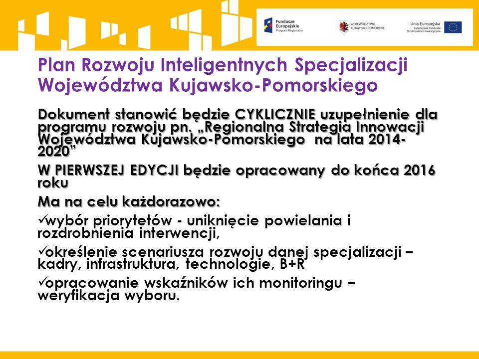 """Plan Rozwoju Inteligentnych Specjalizacji Województwa Kujawsko-Pomorskiego Dokument stanowić będzie CYKLICZNIE uzupełnienie dla programu rozwoju pn. """""""