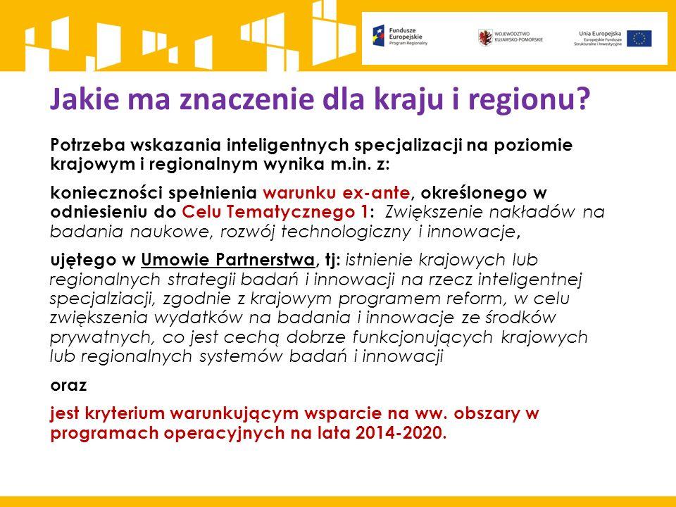 Jakie ma znaczenie dla kraju i regionu? Potrzeba wskazania inteligentnych specjalizacji na poziomie krajowym i regionalnym wynika m.in. z: koniecznośc