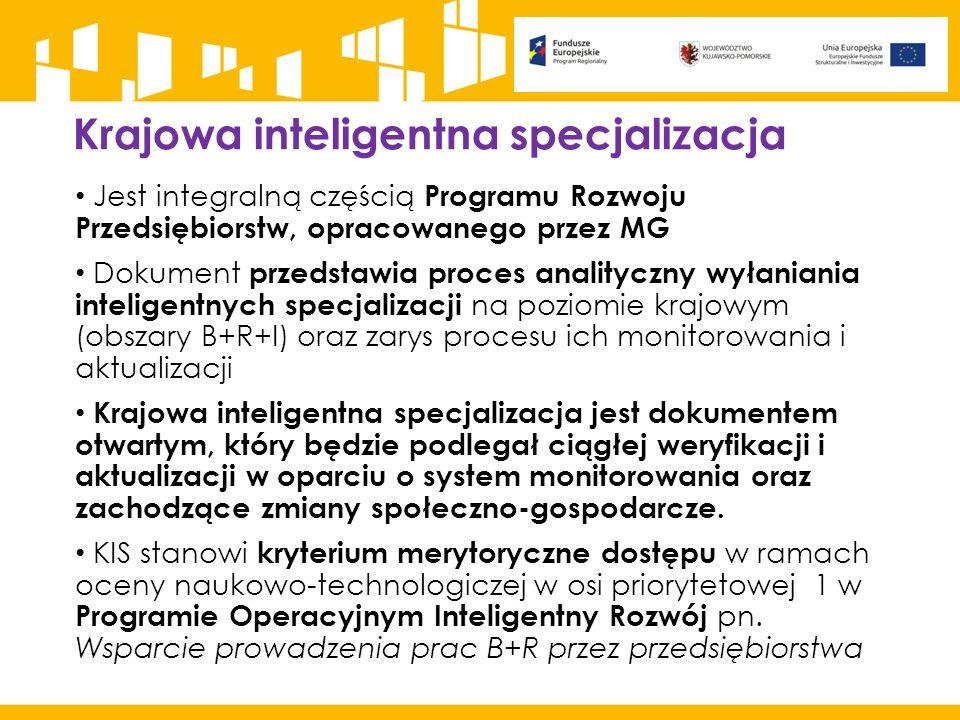 Krajowa inteligentna specjalizacja Jest integralną częścią Programu Rozwoju Przedsiębiorstw, opracowanego przez MG Dokument przedstawia proces anality